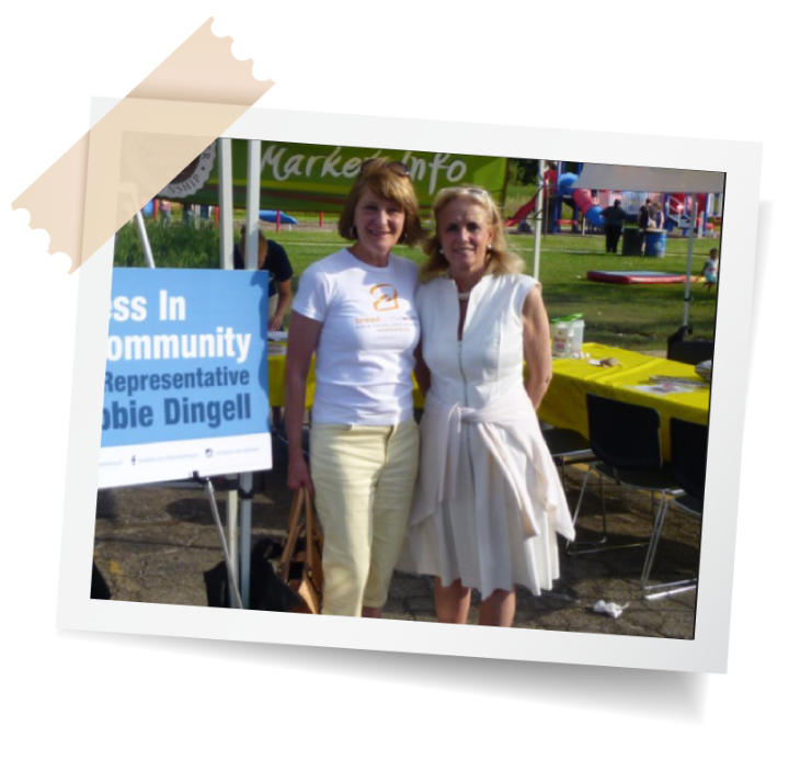 Debbie with a supporter at community event